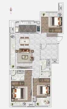 B1户型134㎡3+1室2厅2卫