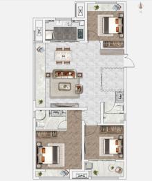 C3户型127㎡3+1室2厅1卫