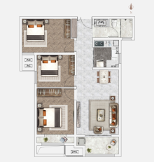 C2户型103㎡3室2厅1卫