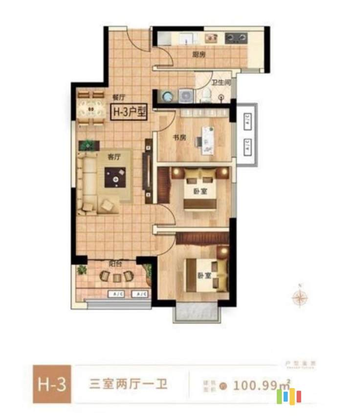 3室2厅1卫